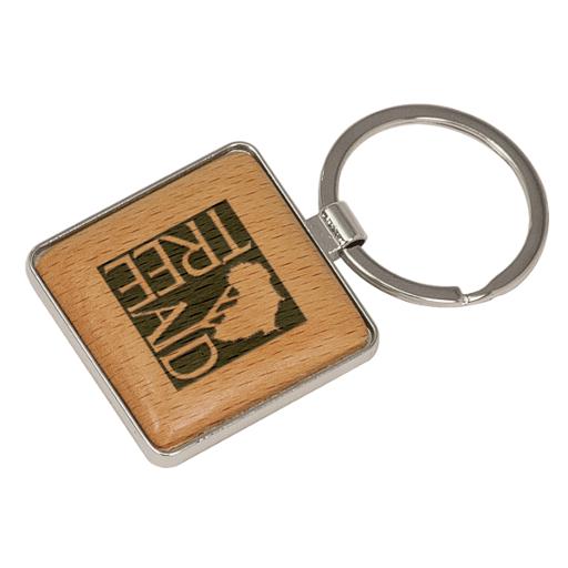 Wood & Silver - Square Key Tag